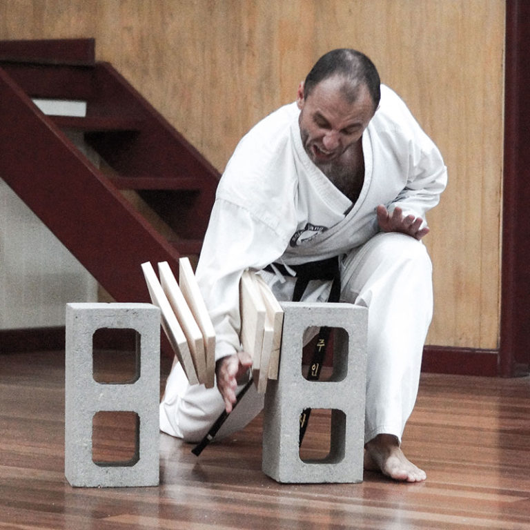 breaking wood boards martial arts central coast