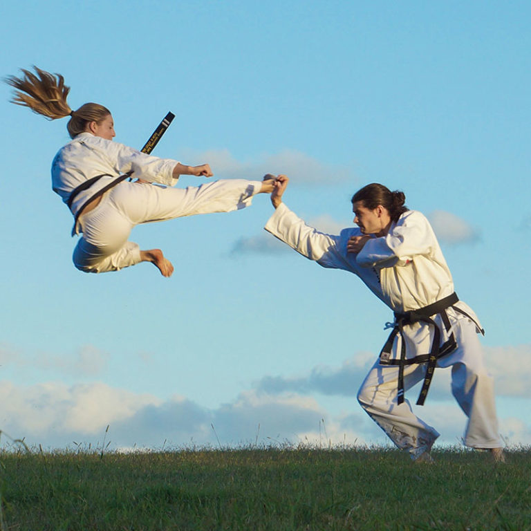 flying side kick martial arts fighting combat outside
